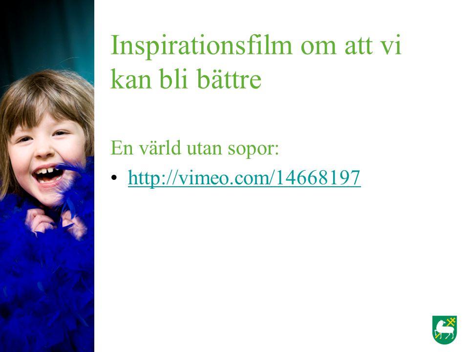 Inspirationsfilm om att vi kan bli bättre En värld utan sopor: http://vimeo.com/14668197