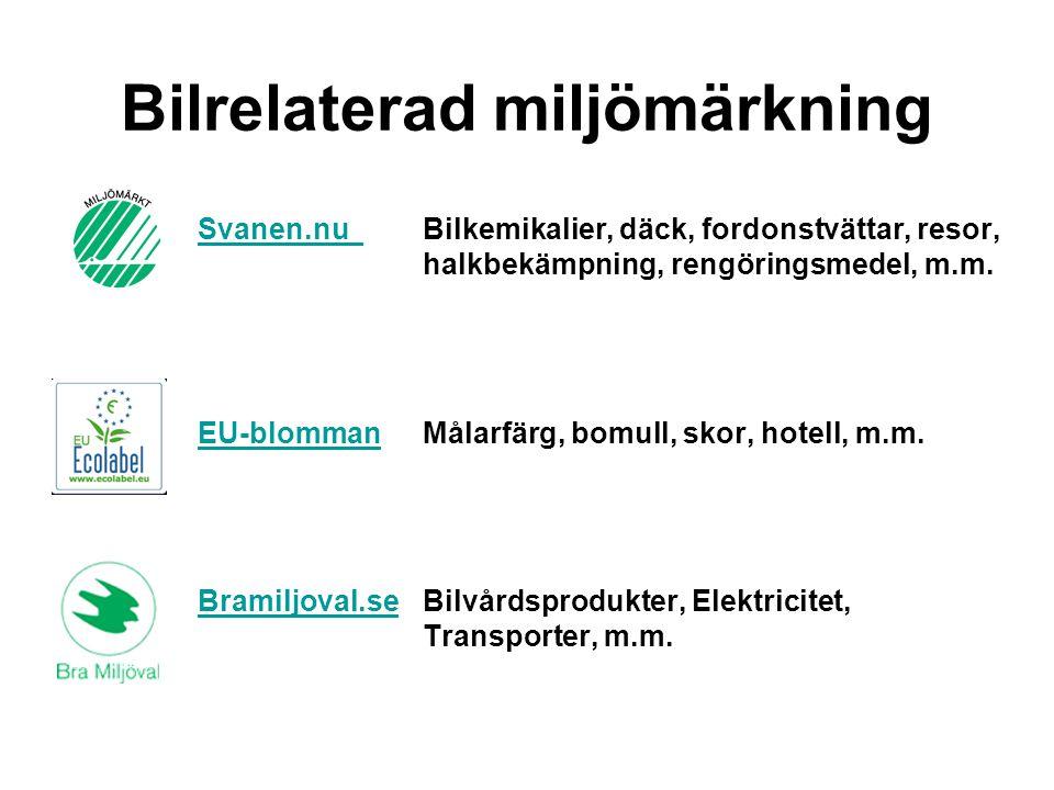 Bilrelaterad miljömärkning Svanen.nu Svanen.nu Bilkemikalier, däck, fordonstvättar, resor, halkbekämpning, rengöringsmedel, m.m. EU-blommanEU-blommanM
