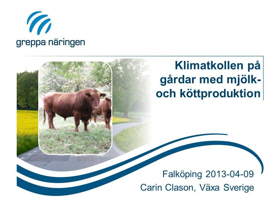 Klimatkollen på gårdar med mjölk- och köttproduktion Falköping 2013-04-09 Carin Clason, Växa Sverige