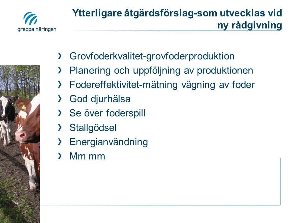 Ytterligare åtgärdsförslag-som utvecklas vid ny rådgivning Grovfoderkvalitet-grovfoderproduktion Planering och uppföljning av produktionen Fodereffekt