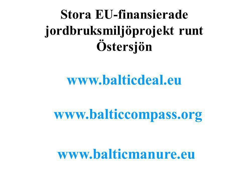 Stora EU-finansierade jordbruksmiljöprojekt runt Östersjön www.balticdeal.eu www.balticcompass.org www.balticmanure.eu