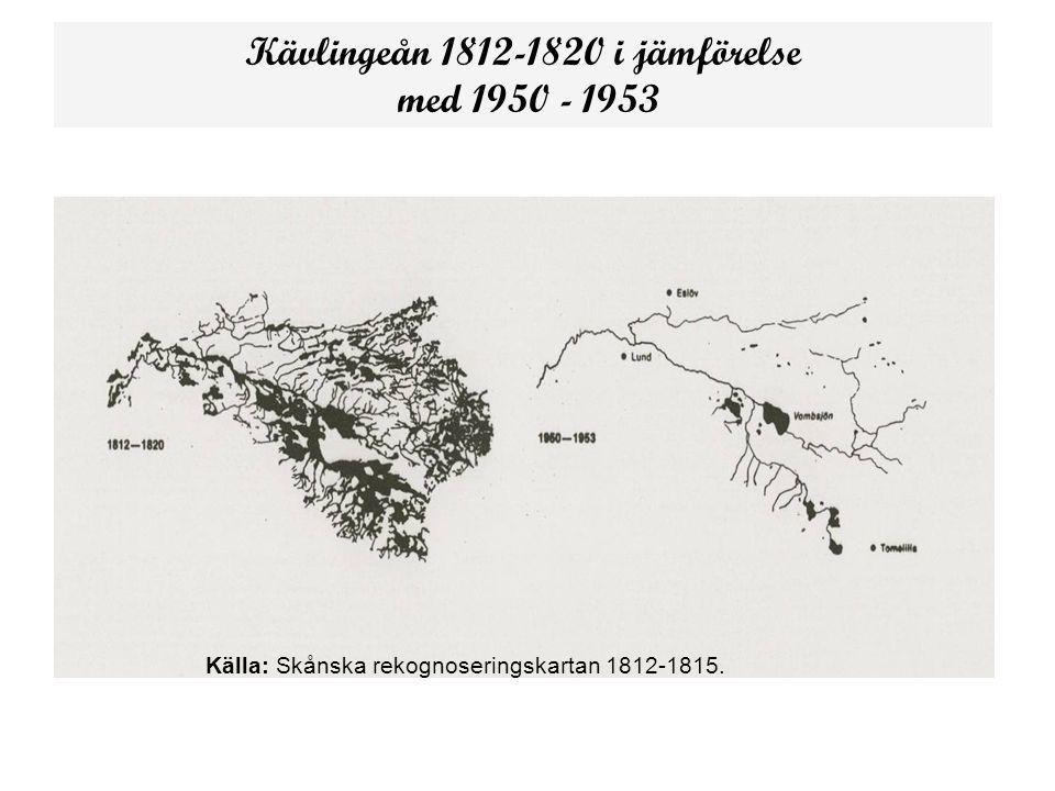 Kävlingeån 1812-1820 i jämförelse med 1950 - 1953 Källa: Skånska rekognoseringskartan 1812-1815.
