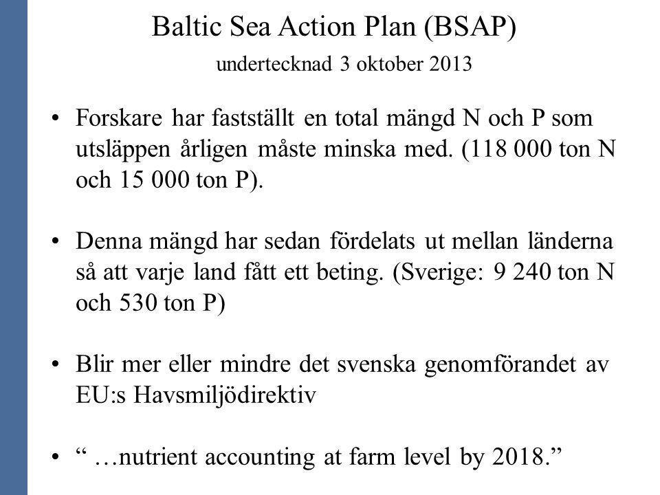 Baltic Sea Action Plan (BSAP) undertecknad 3 oktober 2013 Forskare har fastställt en total mängd N och P som utsläppen årligen måste minska med. (118