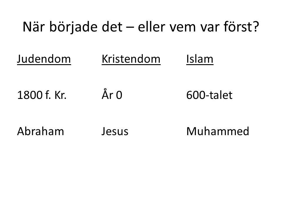 När började det – eller vem var först? JudendomKristendomIslam 1800 f. Kr.År 0600-talet AbrahamJesusMuhammed