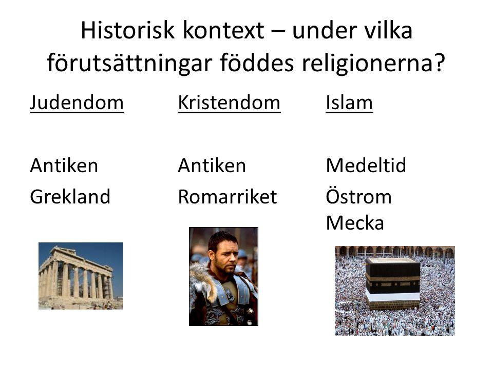 Historisk kontext – under vilka förutsättningar föddes religionerna? JudendomKristendomIslam Antiken AntikenMedeltid GreklandRomarriketÖstrom Mecka