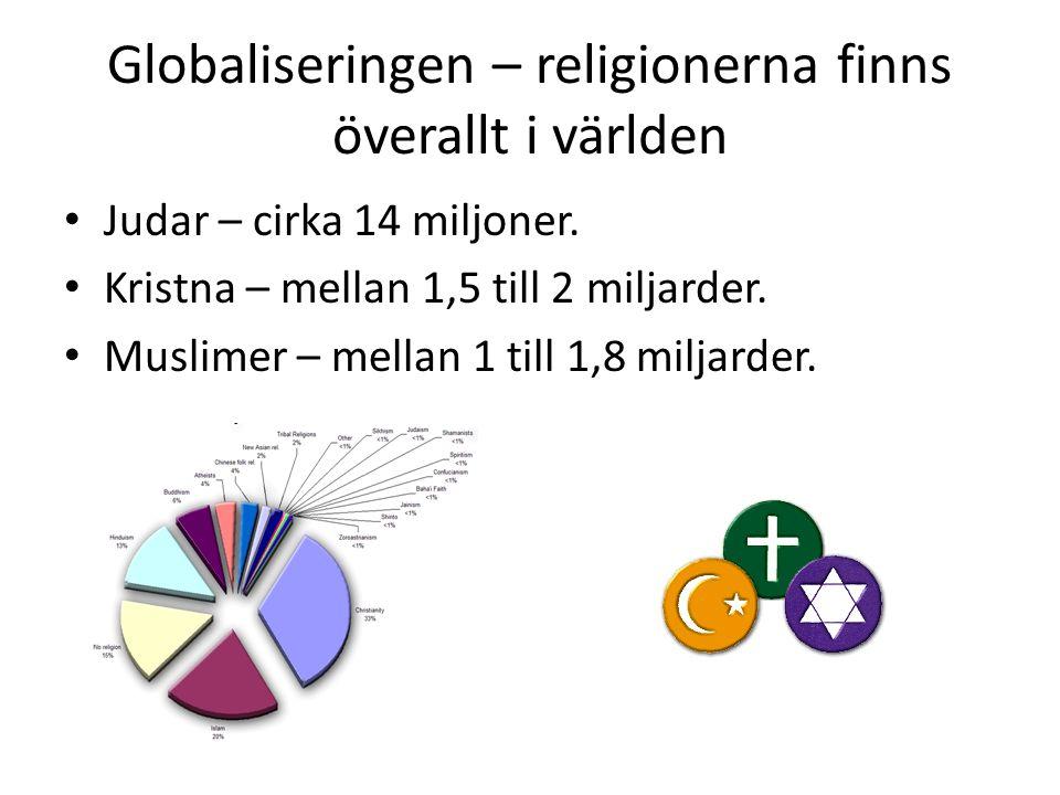 Globaliseringen – religionerna finns överallt i världen Judar – cirka 14 miljoner. Kristna – mellan 1,5 till 2 miljarder. Muslimer – mellan 1 till 1,8