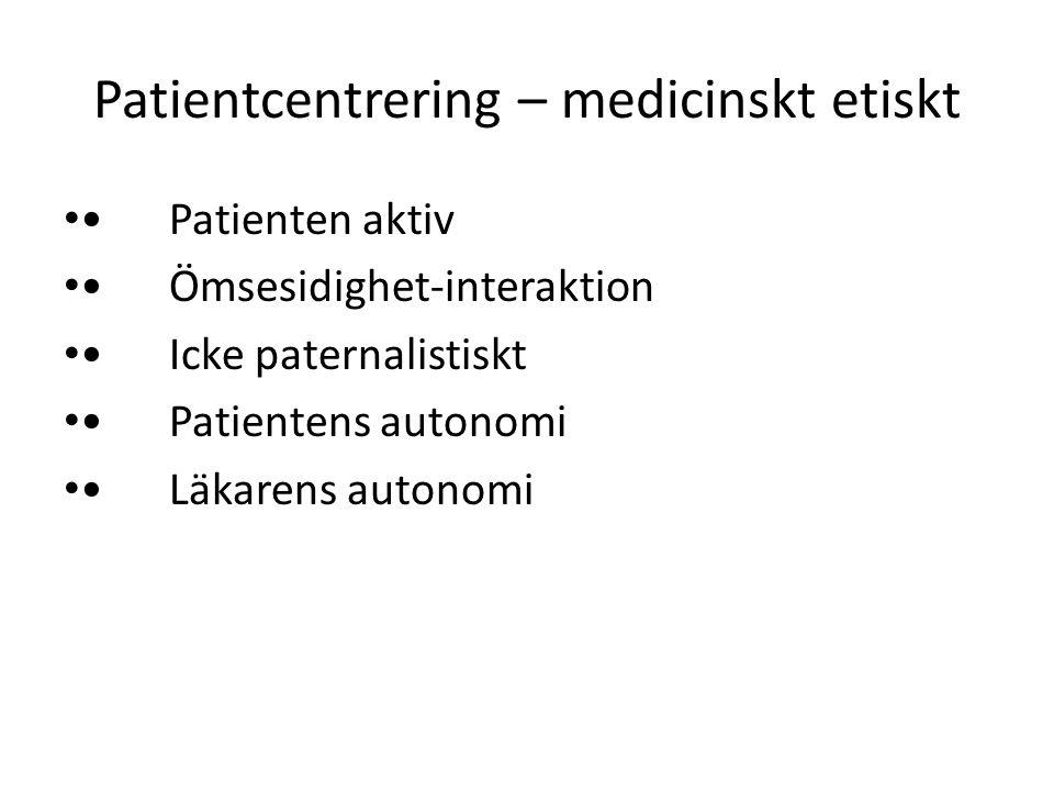 Patientcentrering – medicinskt etiskt Patienten aktiv Ömsesidighet-interaktion Icke paternalistiskt Patientens autonomi Läkarens autonomi