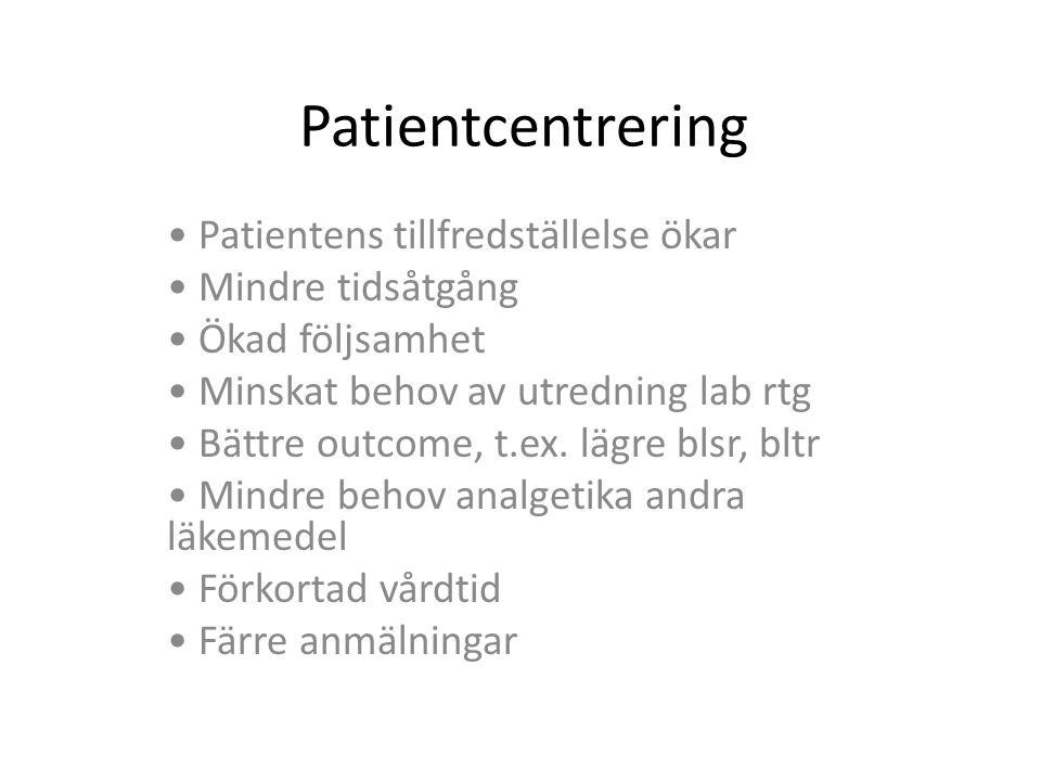 Patientcentrering Patientens tillfredställelse ökar Mindre tidsåtgång Ökad följsamhet Minskat behov av utredning lab rtg Bättre outcome, t.ex. lägre b
