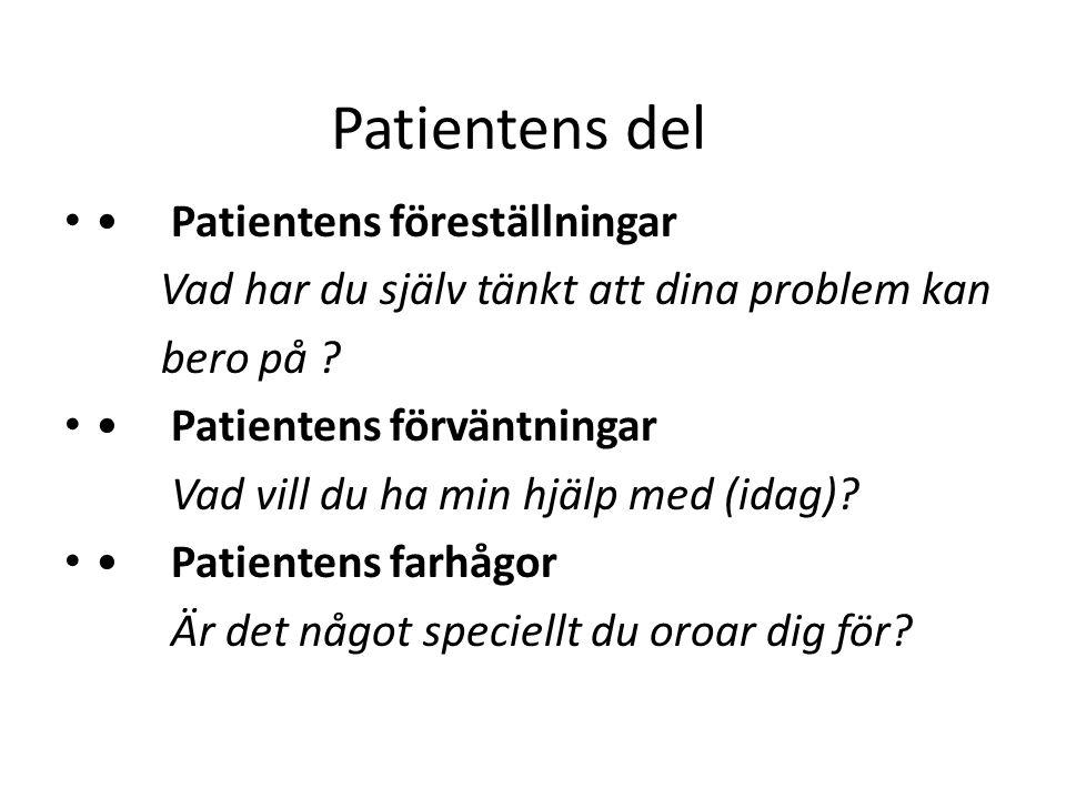 Patientens del Patientens föreställningar Vad har du själv tänkt att dina problem kan bero på ? Patientens förväntningar Vad vill du ha min hjälp med