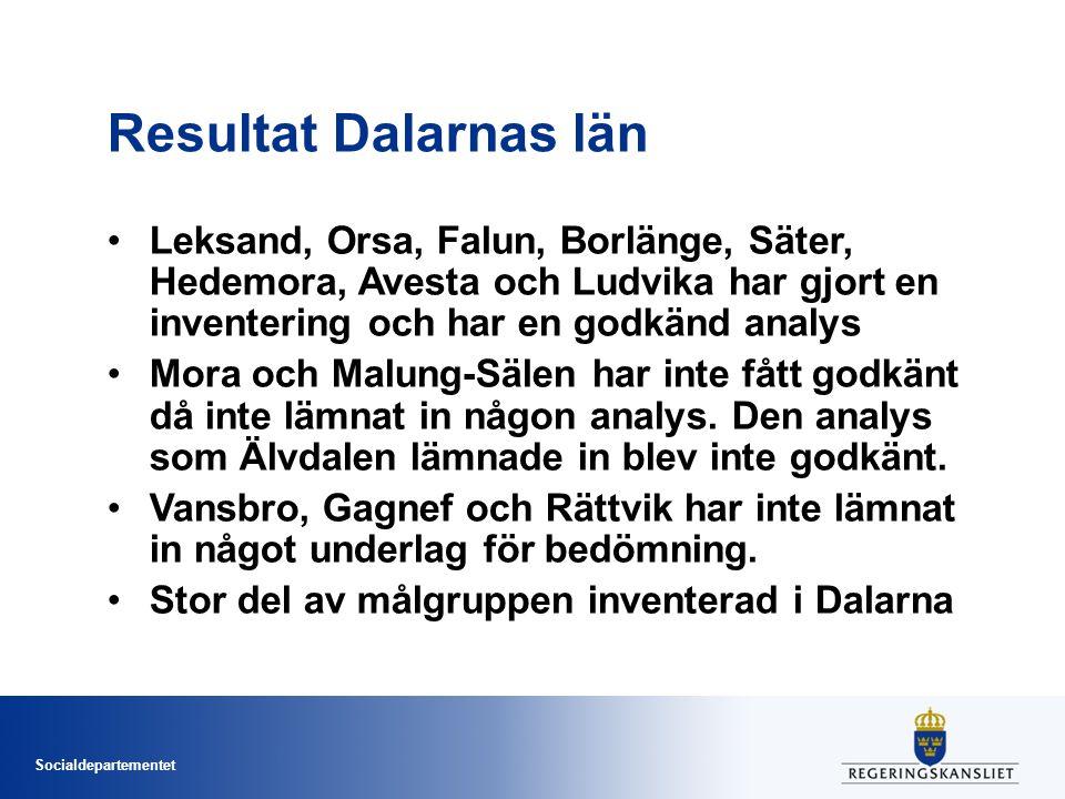 Socialdepartementet Resultat Dalarnas län Leksand, Orsa, Falun, Borlänge, Säter, Hedemora, Avesta och Ludvika har gjort en inventering och har en godkänd analys Mora och Malung-Sälen har inte fått godkänt då inte lämnat in någon analys.