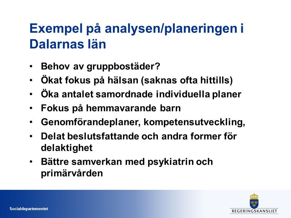 Socialdepartementet Exempel på analysen/planeringen i Dalarnas län Behov av gruppbostäder.