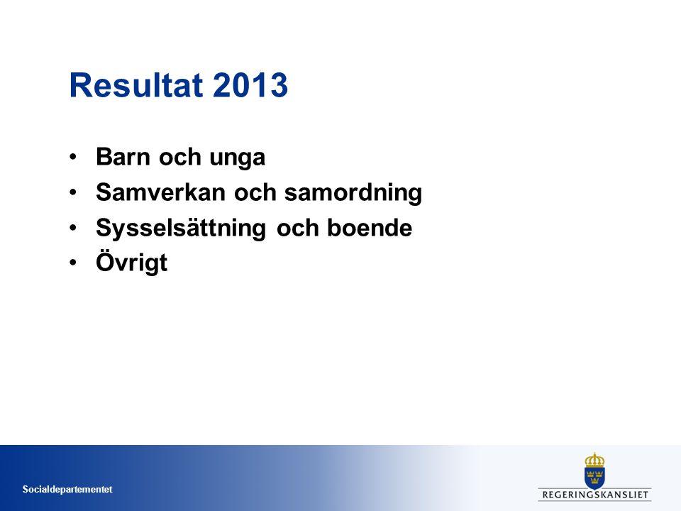 Socialdepartementet Resultat 2013 Barn och unga Samverkan och samordning Sysselsättning och boende Övrigt