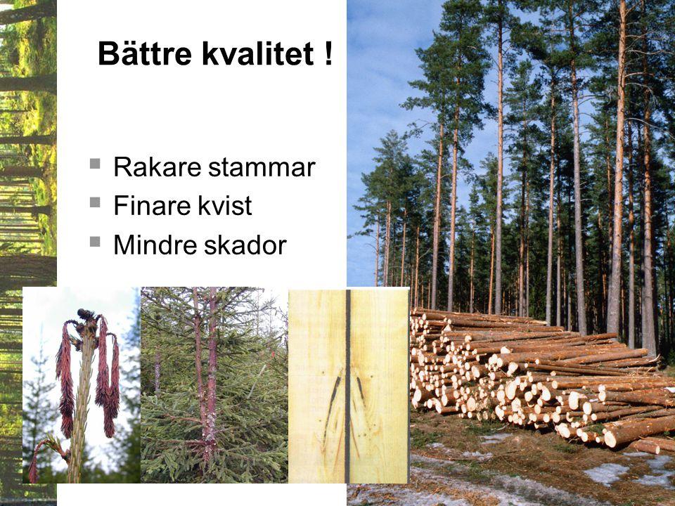 Bättre kvalitet !  Rakare stammar  Finare kvist  Mindre skador