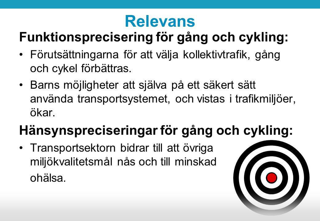 Relevans Funktionsprecisering för gång och cykling: Förutsättningarna för att välja kollektivtrafik, gång och cykel förbättras. Barns möjligheter att