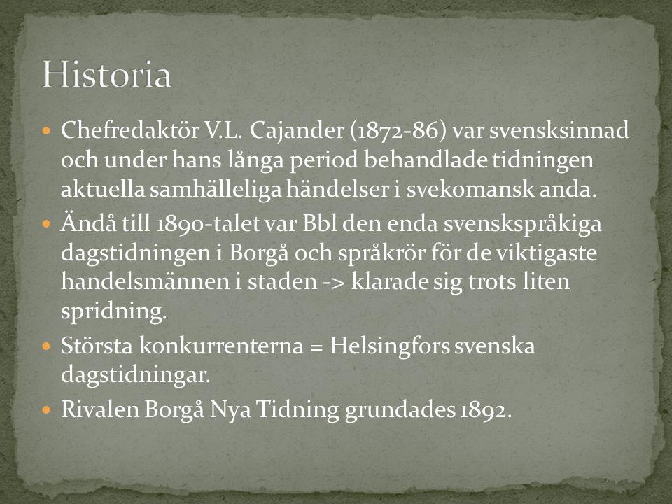 Chefredaktör V.L. Cajander (1872-86) var svensksinnad och under hans långa period behandlade tidningen aktuella samhälleliga händelser i svekomansk an
