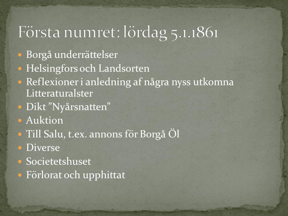 """Borgå underrättelser Helsingfors och Landsorten Reflexioner i anledning af några nyss utkomna Litteraturalster Dikt """"Nyårsnatten"""" Auktion Till Salu, t"""