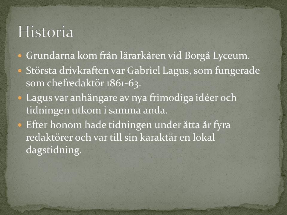 Grundarna kom från lärarkåren vid Borgå Lyceum. Största drivkraften var Gabriel Lagus, som fungerade som chefredaktör 1861-63. Lagus var anhängare av