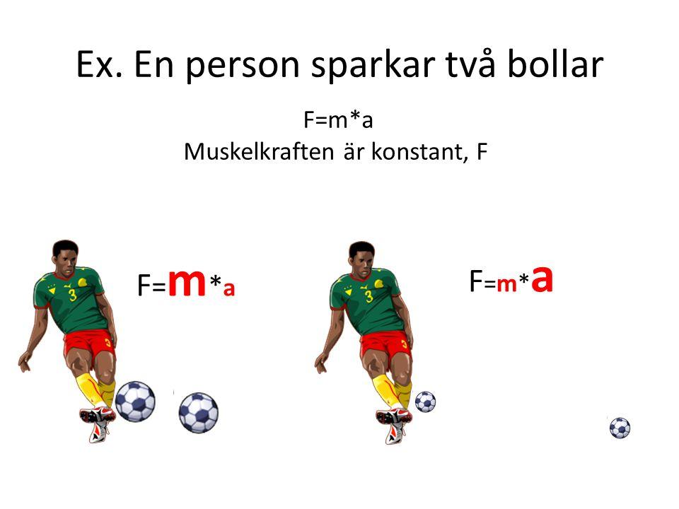 Ex. En person sparkar två bollar F=m*aF=m*a F=m*aF=m*a F=m*a Muskelkraften är konstant, F