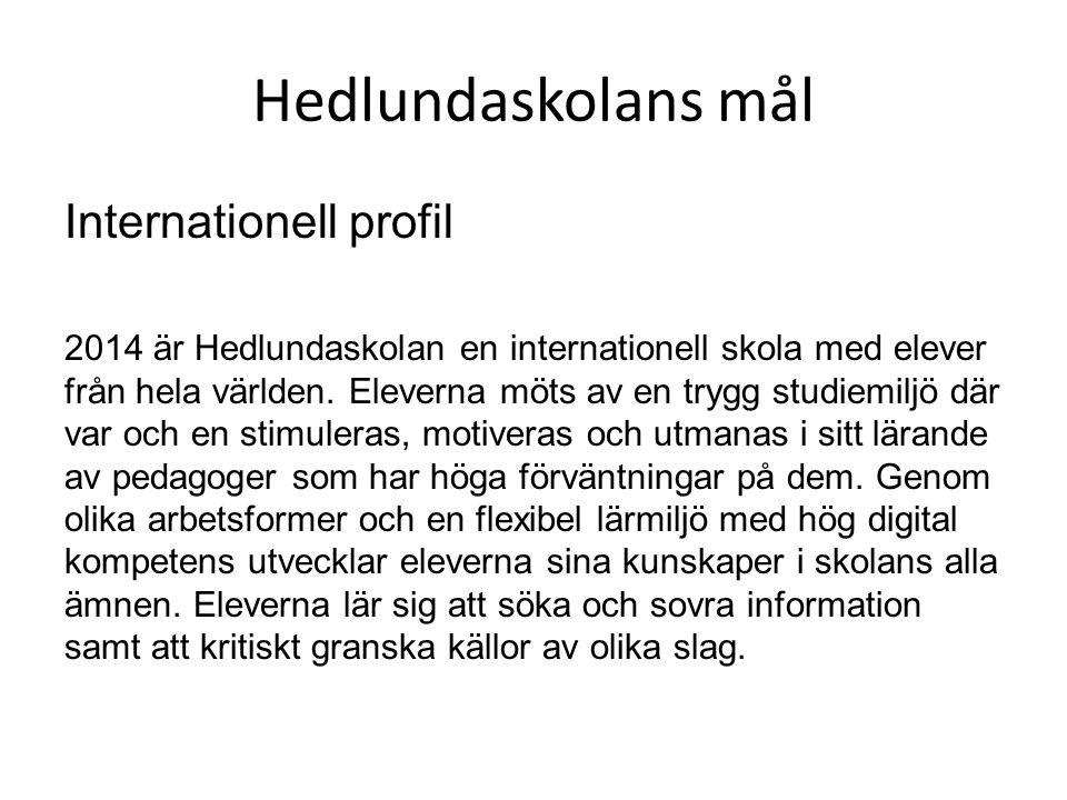 Hedlundaskolans mål Internationell profil 2014 är Hedlundaskolan en internationell skola med elever från hela världen. Eleverna möts av en trygg studi