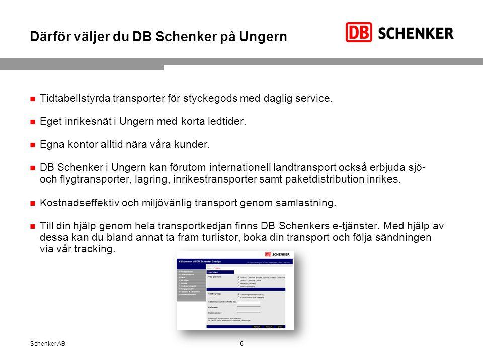 Därför väljer du DB Schenker på Ungern Tidtabellstyrda transporter för styckegods med daglig service.