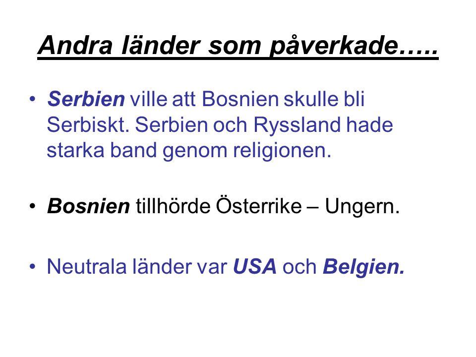 Andra länder som påverkade…..Serbien ville att Bosnien skulle bli Serbiskt.
