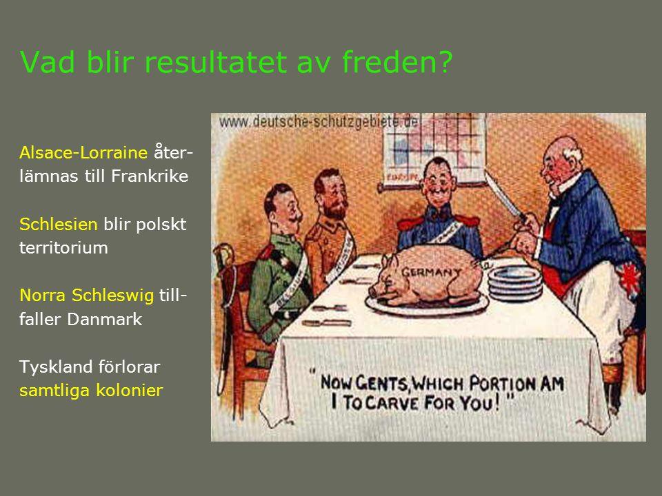 Vad blir resultatet av freden? Alsace-Lorraine åter- lämnas till Frankrike Schlesien blir polskt territorium Norra Schleswig till- faller Danmark Tysk