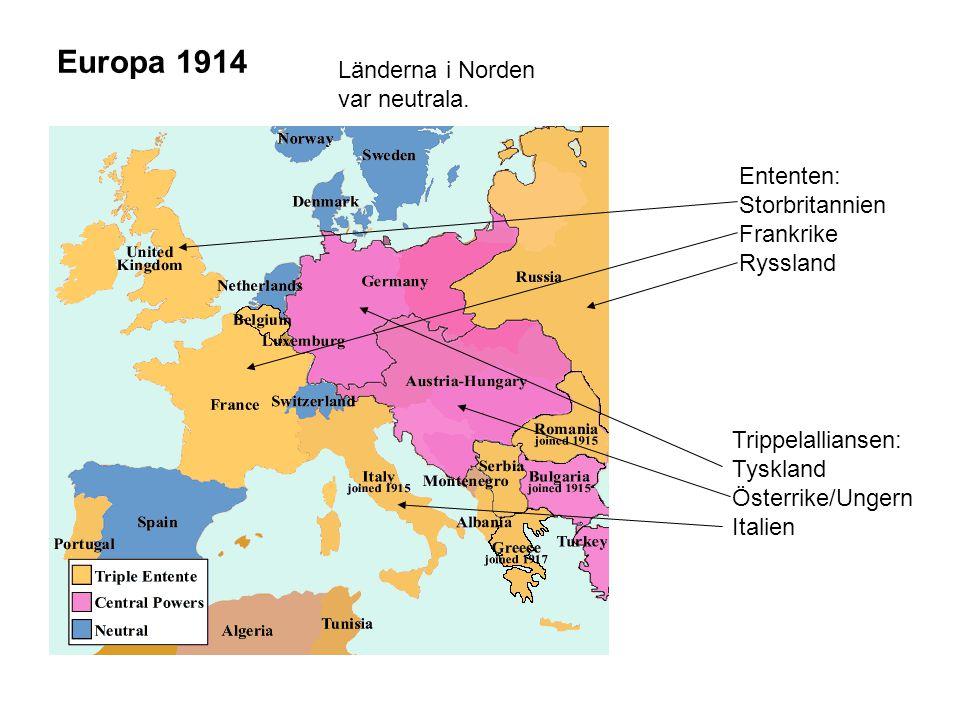 Europa 1914 Ententen: Storbritannien Frankrike Ryssland Trippelalliansen: Tyskland Österrike/Ungern Italien Länderna i Norden var neutrala.
