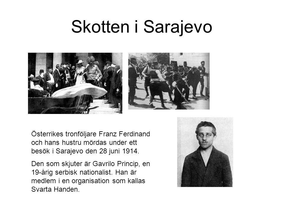 Skotten i Sarajevo Österrikes tronföljare Franz Ferdinand och hans hustru mördas under ett besök i Sarajevo den 28 juni 1914. Den som skjuter är Gavri