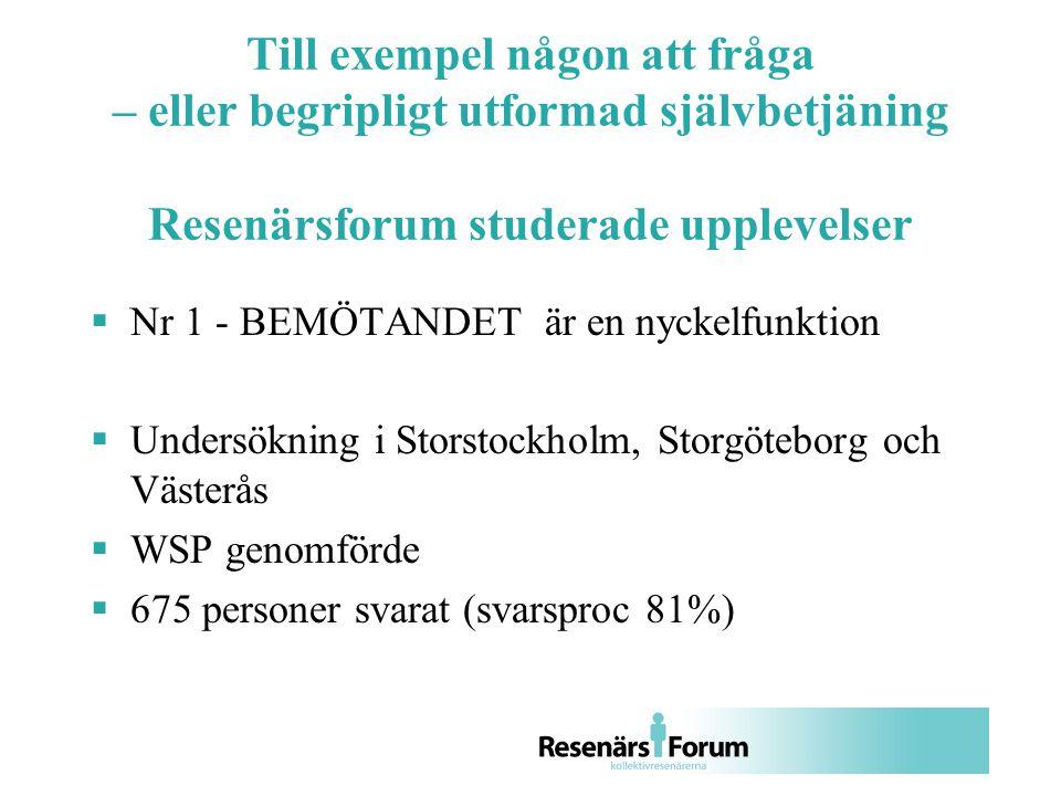 Till exempel någon att fråga – eller begripligt utformad självbetjäning Resenärsforum studerade upplevelser  Nr 1 - BEMÖTANDET är en nyckelfunktion  Undersökning i Storstockholm, Storgöteborg och Västerås  WSP genomförde  675 personer svarat (svarsproc 81%)