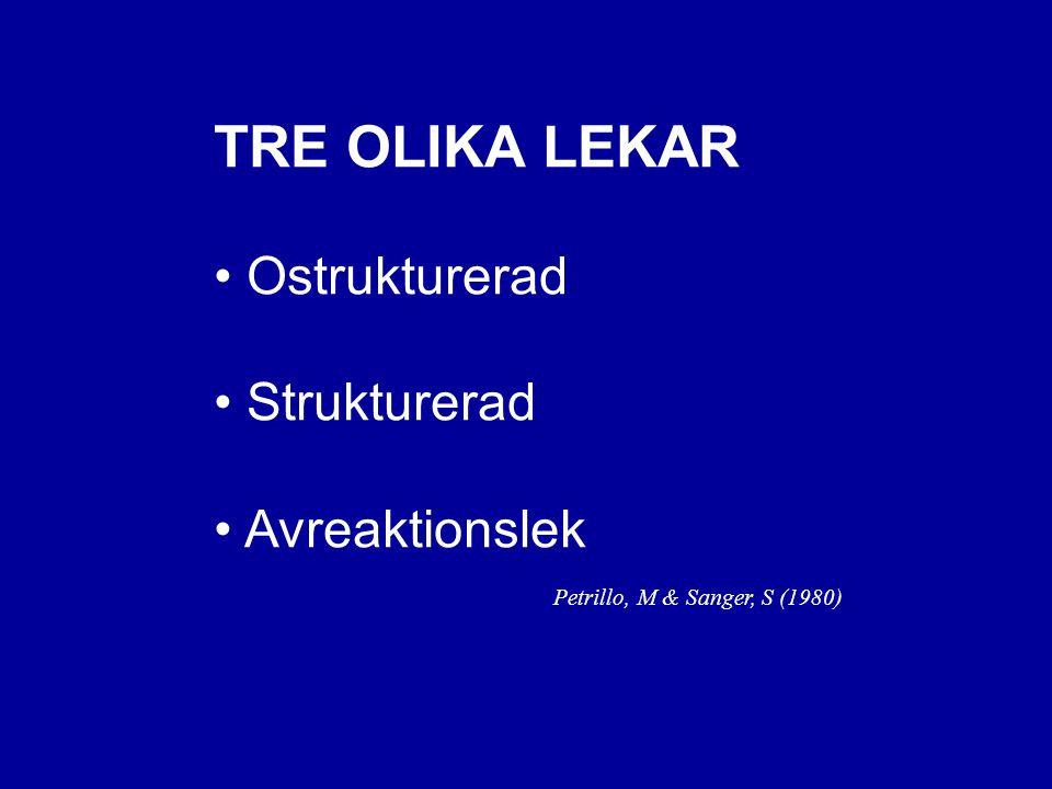 TRE OLIKA LEKAR Ostrukturerad Strukturerad Avreaktionslek Petrillo, M & Sanger, S (1980)