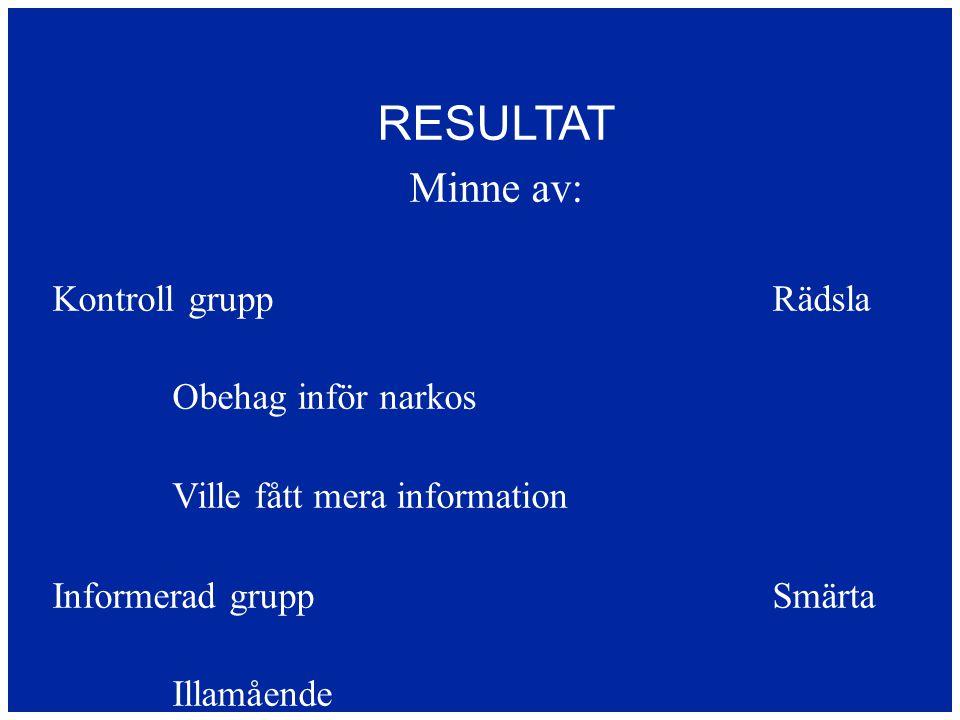 RESULTAT Minne av: Kontroll gruppRädsla Obehag inför narkos Ville fått mera information Informerad gruppSmärta Illamående