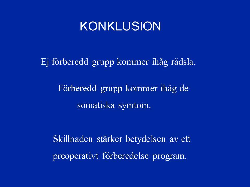 KONKLUSION Ej förberedd grupp kommer ihåg rädsla.Förberedd grupp kommer ihåg de somatiska symtom.