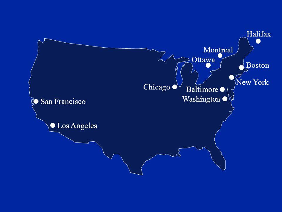 San Francisco Los Angeles Ottawa Montreal Halifax Boston New York Chicago Baltimore Washington