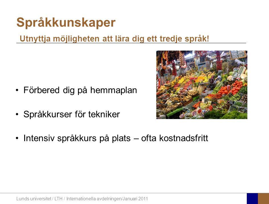 Lunds universitet / LTH / Internationella avdelningen/Januari 2011 Förbered dig på hemmaplan Språkkurser för tekniker Intensiv språkkurs på plats – of
