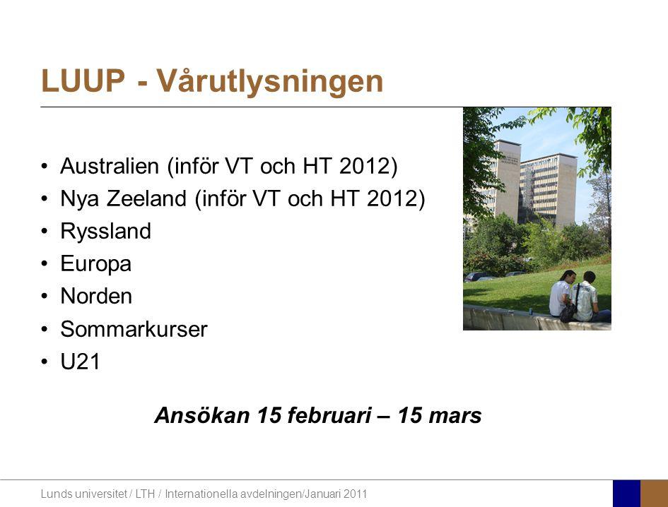 Lunds universitet / LTH / Internationella avdelningen/Januari 2011 LUUP - Vårutlysningen Australien (inför VT och HT 2012) Nya Zeeland (inför VT och H