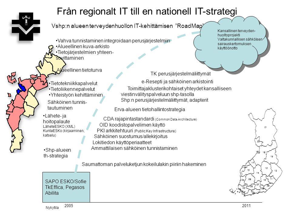 """Från regionalt IT till en nationell IT-strategi SAPO ESKO/Sofie TkEffica, Pegasos Abilita Vshp:n alueen terveydenhuollon IT-kehittämisen """"RoadMap"""" 201"""