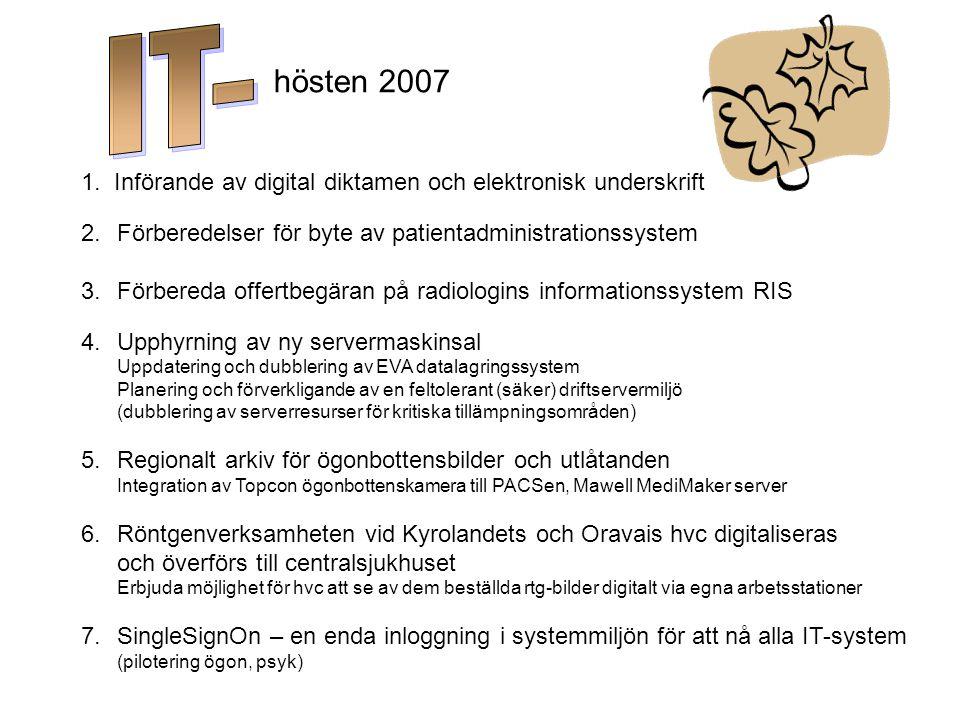 hösten 2007 1. Införande av digital diktamen och elektronisk underskrift 2.Förberedelser för byte av patientadministrationssystem 3.Förbereda offertbe