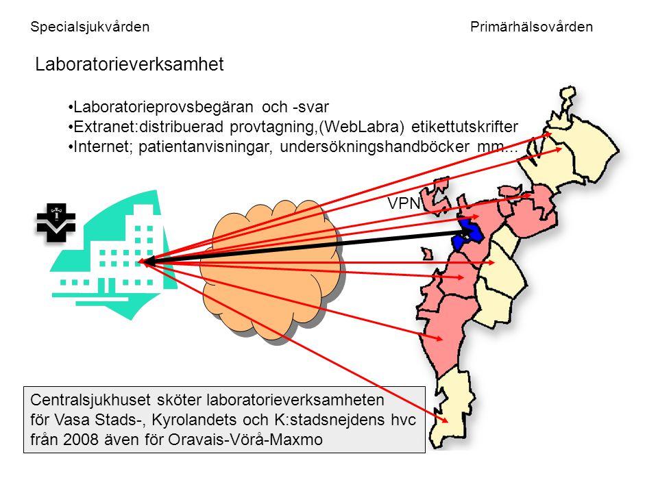 SpecialsjukvårdenPrimärhälsovården Röntgenverksamhet Centralsjukhuset sköter röntgenverksamheten för Kyrolandets hvc och K:stads hvc från 2008 även Oravais-Vörå-Maxmo Alue- PACS adsl 2Mb/512Kb fast/kiinteä Multifi fast/kiinteä VPN Korsholm och Malax-Korsnäs har långtidsarkivering av bilder vid VCS