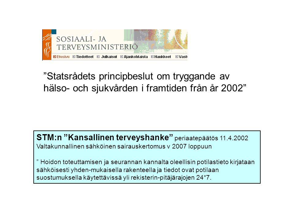 """""""Statsrådets principbeslut om tryggande av hälso- och sjukvården i framtiden från år 2002"""" STM:n """"Kansallinen terveyshanke"""" periaatepäätös 11.4.2002 V"""