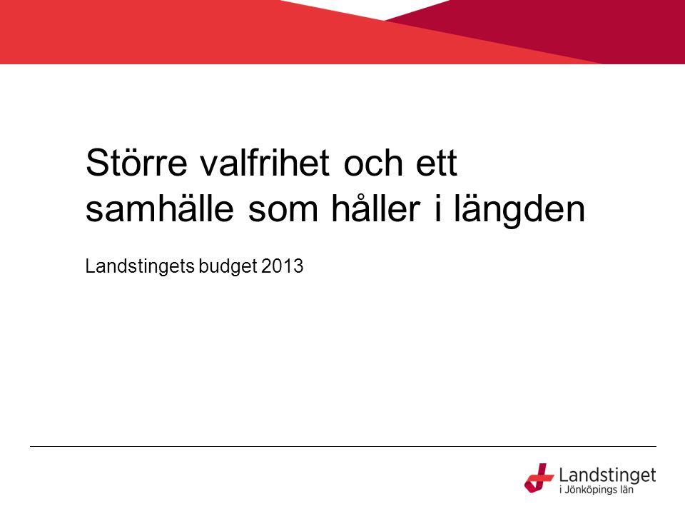 Större valfrihet och ett samhälle som håller i längden Landstingets budget 2013