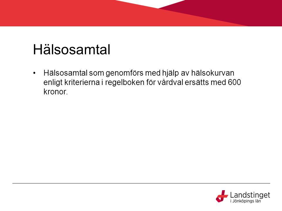 Hälsosamtal Hälsosamtal som genomförs med hjälp av hälsokurvan enligt kriterierna i regelboken för vårdval ersätts med 600 kronor.