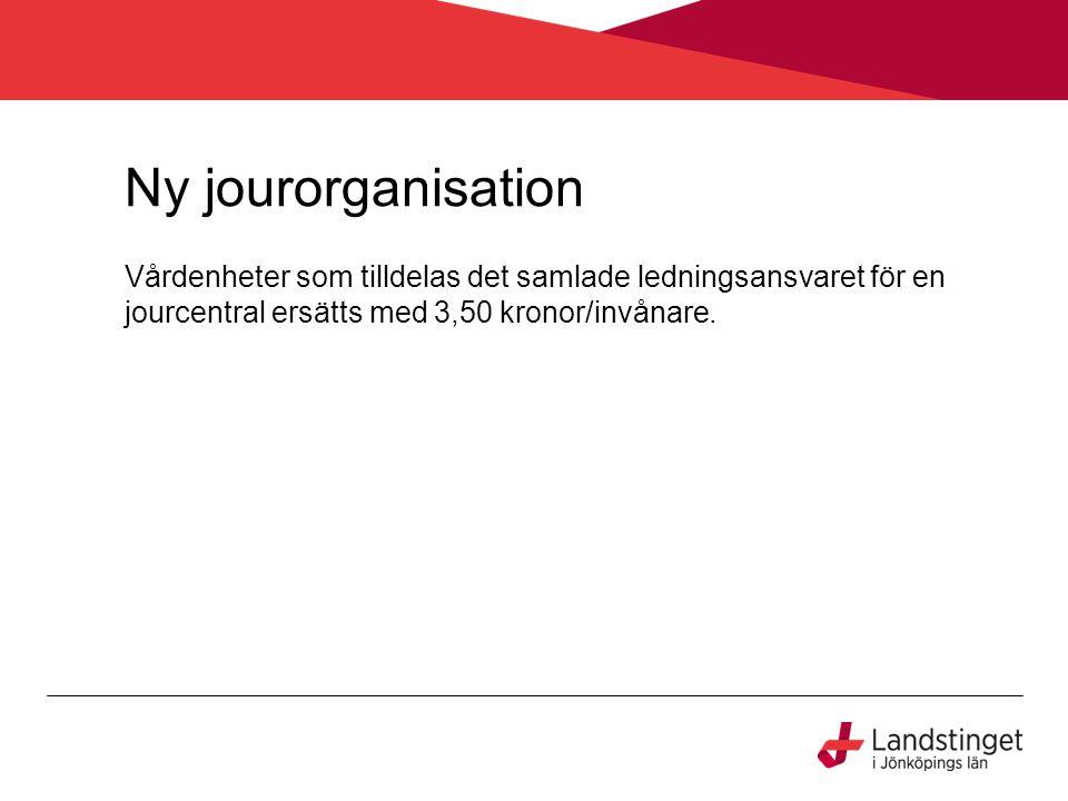 Ny jourorganisation Vårdenheter som tilldelas det samlade ledningsansvaret för en jourcentral ersätts med 3,50 kronor/invånare.