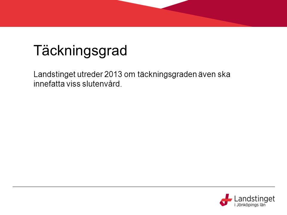 Täckningsgrad Landstinget utreder 2013 om täckningsgraden även ska innefatta viss slutenvård.