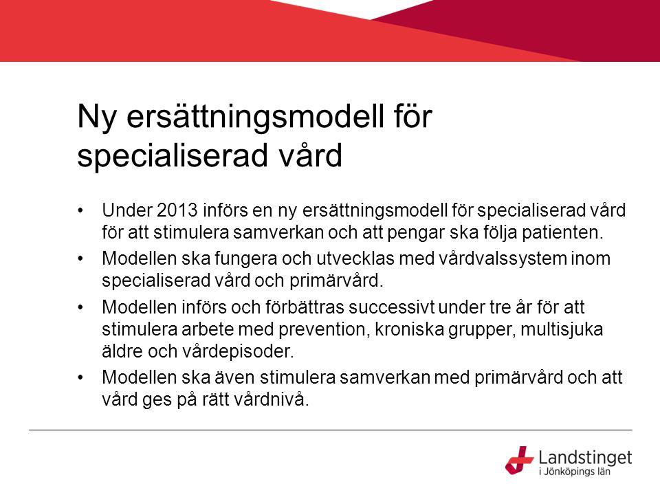 Ny ersättningsmodell för specialiserad vård Under 2013 införs en ny ersättningsmodell för specialiserad vård för att stimulera samverkan och att pengar ska följa patienten.