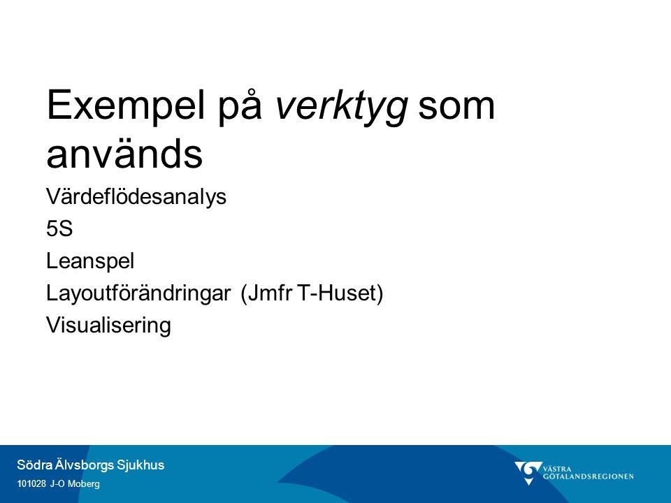 Södra Älvsborgs Sjukhus 101028 J-O Moberg Exempel på verktyg som används Värdeflödesanalys 5S Leanspel Layoutförändringar (Jmfr T-Huset) Visualisering