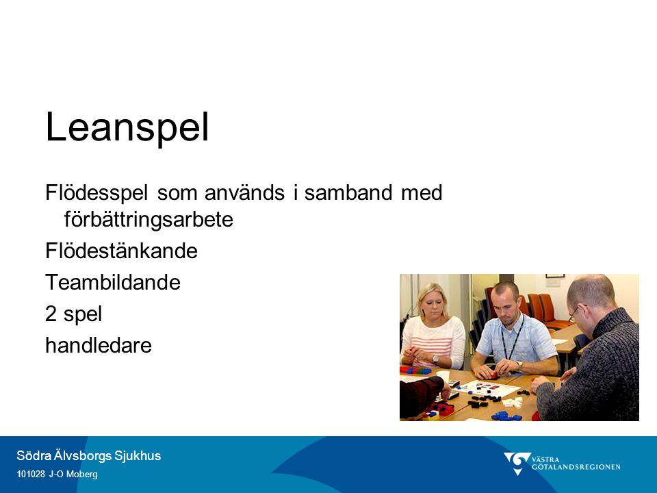 Södra Älvsborgs Sjukhus 101028 J-O Moberg Leanspel Flödesspel som används i samband med förbättringsarbete Flödestänkande Teambildande 2 spel handleda
