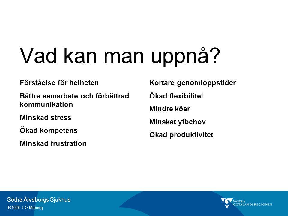 Södra Älvsborgs Sjukhus 101028 J-O Moberg Vad kan man uppnå? Förståelse för helheten Bättre samarbete och förbättrad kommunikation Minskad stress Ökad