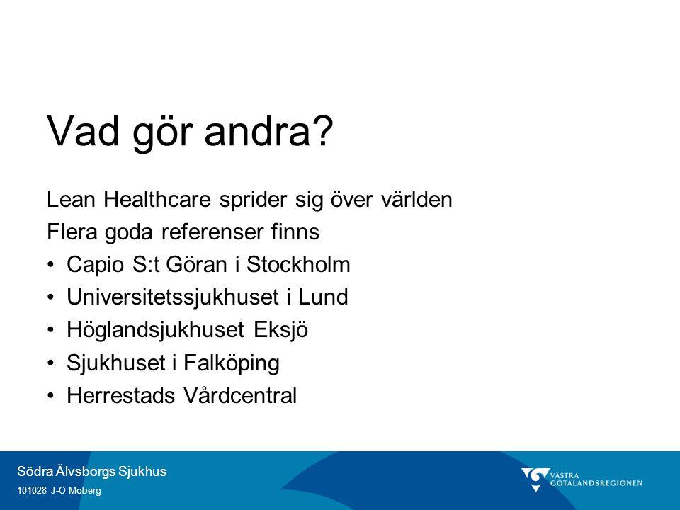 Södra Älvsborgs Sjukhus 101028 J-O Moberg Vad gör andra? Lean Healthcare sprider sig över världen Flera goda referenser finns Capio S:t Göran i Stockh