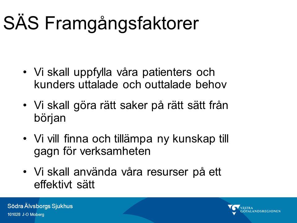 Södra Älvsborgs Sjukhus 101028 J-O Moberg SÄS Framgångsfaktorer Vi skall uppfylla våra patienters och kunders uttalade och outtalade behov Vi skall göra rätt saker på rätt sätt från början Vi vill finna och tillämpa ny kunskap till gagn för verksamheten Vi skall använda våra resurser på ett effektivt sätt
