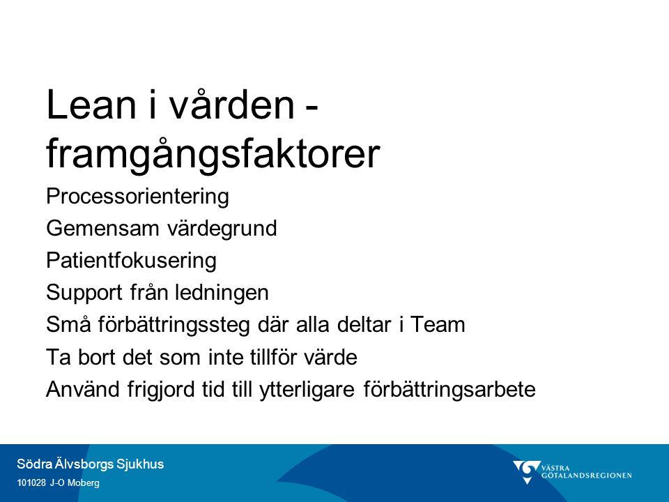 Södra Älvsborgs Sjukhus 101028 J-O Moberg Lean i vården - framgångsfaktorer Processorientering Gemensam värdegrund Patientfokusering Support från ledningen Små förbättringssteg där alla deltar i Team Ta bort det som inte tillför värde Använd frigjord tid till ytterligare förbättringsarbete